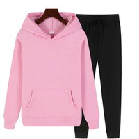 Women's Hoodies & Sweatshirts Spring And Autumn Ladies Sportswear Suit Two-Piece Solid Color Casual Wear Fitness Track Field Harajuku Wholes