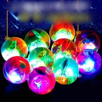 toy 5.5cm flashing crystal ball luminous elastic colorful jumping children's toys wholesale spread