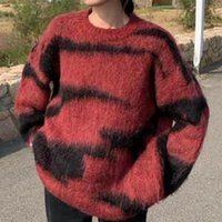 Men's Sweaters Striped Sweater Women Color Block Pullover Casual Knitted O Neck Jumper Loose Top Long Sleeve Jersey Mujer 2021