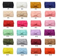 Party Favor 35 Colors Knot Headband Girls Big Bow Headbands Elastic Bowknot Hairbands Turban Solid Headwear Baby Head Wrap Hair Band Accessories AXDY