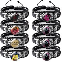 Squid Game Charm Bracelet Multi Leather Wristbands for Women Men Halloween Gift Jewelry