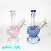 9 inch Pink Glass Bong Heart Shape Hookah Shisha Beaker Dab Rig Smoking Water Pipe Filter Bubbler W ICE Catcher