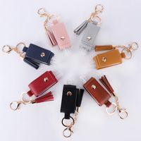 New Pu Imitation Leather Portable Hand Sanitizer Bottle Cover Tassel Bag Key Ring Pendant