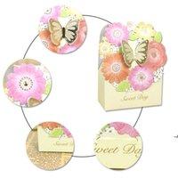 50 pz Wedding Candy Box Gold Butterfly Events Forniture per feste Confezione regalo Bomboniere Decorazione di cerimonia nuziale di lusso Carta laser Cassy Box DWD6081