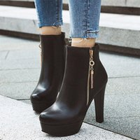 High Heel Boots Woman Winter Sexy Tassel Platform Female Quality Leather Thin Ladies Height Increasing Booties Z7Wx#