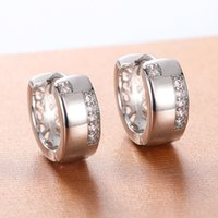 Simple Smooth Women Circle Hoops Earrings Inlay Crystal Zirconia Delicate Daily Wearable Accessories Good Quality Jewelry