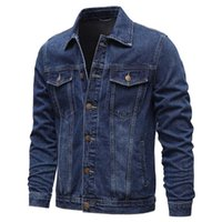 Men's Jackets Spring Autumn Men Denim Casual Solid Color Lapel Single Breasted Jeans Jacket Slim Fit Cotton Outwear 5xl-M