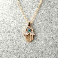 Кулон ожерелья 1 шт. Турецкий кристаллический злой глаз рука HAMSA ожерелье цвет украшений, выдолбленные клавиши ключицы цепи
