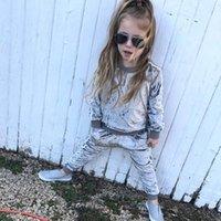 مجموعات الملابس عارضة الاطفال ملابس فتاة تتسابق الربيع الخريف الطفل الذهب المخملية طويلة الأكمام قمم + السراويل الأطفال الفتيات مجموعة