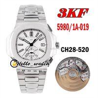 3KF 40.5mm 5980 / 1A-019 CH28-520C Otomatik Chronograph Erkek İzle 5980 Beyaz Doku Dial Paslanmaz Çelik Bilezik Kronometre Saatler HWPP Hello_Watch
