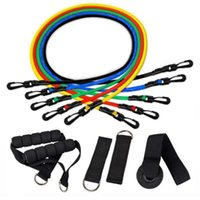 Resistance Bands Portable 11pcs set TPE Pull Rope Colorful Handle Exercise Body Training Workout Yoga Fitness Equipment Tool