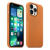 Caso Magsafe de couro original - dourado Brown para Apple iPhone 13/13 Pro / 13 Pro Max / 13 mini tampa de proteção (animação pop-up)