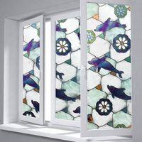 Наклейки окна NueLife Окрашены Дельфин Pattern Pattern Free Беспластвующая Стекло Стекло Средиземноморский Стикер Стикер Ванна Туалет