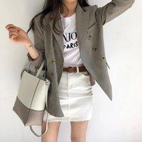 Rua desgaste xadrez blazer casaco senhoras casual manga longa Slim Fit Outwear Suits Blazers para mulher