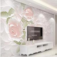 Personalizado PO 3D Estéreo Flores Rose Murales Auto adhesivo Papel pintado Sala de la sala de estar Dormitorio Fondo de pared Decoración para el hogar Fondos de pantalla impermeables