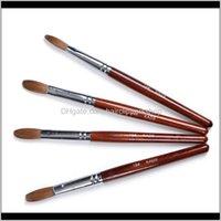 Brushes 100 Kolinsky Sable Uv Acrylic Brush Carving Pen Liquid Powder Diy Flat Round Red Wood Nail Ding 24Tkt F65Yr