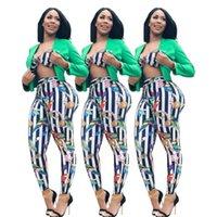 Rayas multicolores Impresiones para mujeres Dos piezas Pantalones Conjuntos Sexy Mangas sin tirantes Spring Verano Casual Vacaciones Dama Trajes Real Imagen