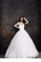 2018 пользовательский дизайнер длинные рукава тюль свадебные платья возлюбленные шеи с аппликацией открытый свадебные платья невесты платья платья из Китая