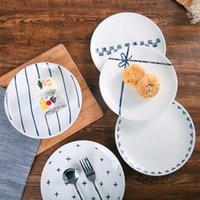 Dishes & Plates 2PCS Set Nordic Ceramic Dessert Plate 8 Inches Breakfast Bread Cake Saucer Home Party Tableware Fruits Salad