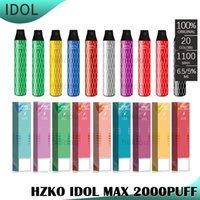الأصلي hzko idol ماكس المتاح جراب السجائر e- السجائر كيت 1100mAh بطارية 2000 نفث 6.5 ملليلتر خراطيش vape xxl