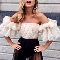 Women Off Shoulder Sexy Blouse Party Glitter Bustier Corset Top 2021 Shirt Ivory Mesh Ruffle Sleeve Lace Crop Women's Blouses & Shirts