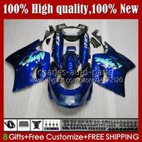 Kit per il corpo per Kawasaki Ninja ZX11R ZZR 1100 ZX-11 R Blu Glossy Blue ZZR1100 ZX11 R ZX 11 R 11R 31HC.130 Nuovo ZX-11R 1990 1991 1992 1993 1994 1995 ZZR-1100 96 97 98 99 00 01 carena dell'OEM