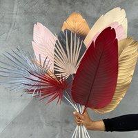 Dekoratif Çiçekler Çelenkler 5 adet Yapay Bitkiler Büyük Muz Yaprak DIY Düğün Yol Çiçek Satır Salonu Dekorasyon Arka Plan Duvar Düzeni