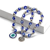 Blue Evil Eyes Beaded Strands Charm Bracelets Fashion Stretch Silver Bead Bracelet Bangles Lucky Turkish Pendant Jewelry Accessories for Women Men Gifts