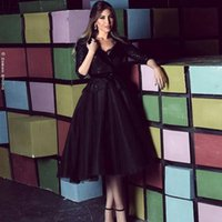 Tea Length Black Tulle Prom Dresses V Neck Half Sleeves Sequins Lace Cocktail Party Bride Evening Gowns A Line Short Homecoming Vestidos