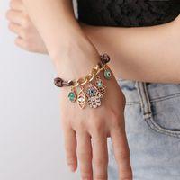 Mode Fatima Hand Hamsa Charm Armband Evil Eye Anhänger Armbänder Für Frauen Männer Glücksleder Strick Link Seil Armreif Vintage Schmuck Geschenk