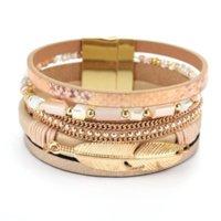 Women Crystal Bracelet Gold Leaf Feather Chain Charm Bangle Cuff Fashion Jewelry