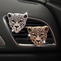 Interior Decorations Car Air Outlet Perfume Clip Creative Metal Alloy Rhinestone Leopard Freshener Decoration