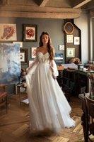 2021 Princess Wedding Dress Puff Sleeve Boho Bride Dresses Nude Tulle Top Wedding Gowns Lace Appliques Vestido de novia