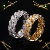European and American Hip Hop Zircon Cuban Chain Ring 8mm Full Inlaid Zirconium Plating Real Gold Trend Men Rings