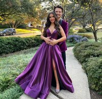 2021 Sexy Long V-Neck Taffeta Evening Dresses with Pokcets A-Line Corset Back Purple Prom Party Gowns Split Abendkleider for Women Plus Size