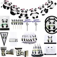 Disposable Dinnerware Panda Theme Kids Birthday Party Supplies Bamboo Paper Straw Plates Cups Banner Cake Toppers Tableware Boy Baby Shower