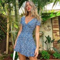 2021 new Blue Floral Print Summer Beach Dress Women Casual Holiday Short Sleeve Dress Boho Sundress Vestidos Fashion Clothes ins