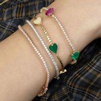 Rainbow CZ Сердце Charm Bractele 3mm Теннисная цепь Камень Крошечные Игровые Браслеты Блестящие Сердца Для Женщин Подарочные Украшения