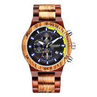 Деревянные часы для мужчин ретро хронограф военные часы полные натуральные деревянные полосы часы человека кварцевый календарь наручные часы Reloj Hombre Wristwatche