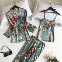 SAPJON 2021 NUEVO 3 PCS Mujeres Pijamas Conjuntos con pantalones Sexy Satin Flower Impresión Nightwear Seda Beekigee Sleepwear Pijama