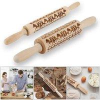 A ferramenta de cozimento do rolo de madeira natural queimagem para o pizza do pão etc rolos do teste padrão do Natal impressos duráveis