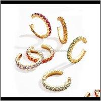 Encanto jóias drop entrega 2021 6 pçs / set orelha manguito único cristal colorido strass clip em forma de brinco para mulheres lc4rk