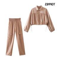 Mulheres de duas peças calças casuais toppies 2021 Set Sexy Cropped Tops Blusas Cintura alta Cintura Carga Lazer Feminino Homewear
