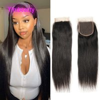 Brazilian Human Hair 4X4 Lace Closure Baby Hair Silky Straight Body Wave Yirubeauty Middle Free Three Part 5 Pieces lot Natural Color