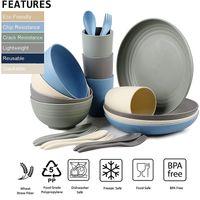 Conjunto de platos de paja de trigo doméstico irrompible Setware Vajilla Biodegradable Vajilla con colores surtidos - Microondas, congelador, Esterilizador seguro, BPA gratis