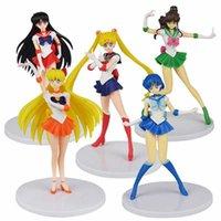 5 teile / satz 18 cm Tsukino Usagi Action Figuren Anime Figure Spielzeugsammlung PVC Modell Desktop Dekor Spielzeug für Kinder Überraschung Geschenk Q0619