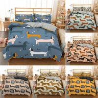Bedding Sets Cartoon Dachshund Set Cute Sausage Dog Duvet Cover Pet Printed Comforter Bed Linen Bedclothes