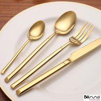 Yemek Takımları Kapalı Altın Paslanmaz Çelik Taşınabilir Çatal Yemek Masası Sofra Set Mutfak Gadget Akşam Yemeği Kaşık Çatal Flateware