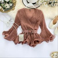 Office Chiffon Spring Autumn Solid Womens Shirts V Neck Flare Sleeve Sashes Slim Chic Wild Female Fashion