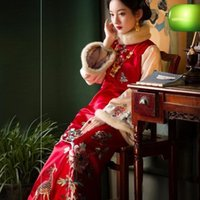 Ethnic Clothing 2021 Autumn Winter Chinese Retro Red Thickened Cotton Improved Cheongsam Women Festival Party Dress Vintage Buckle Warm Qipa